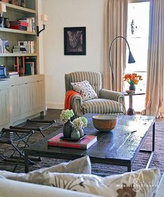 striped chair, coffee table, x benches  designer:madeline stuart