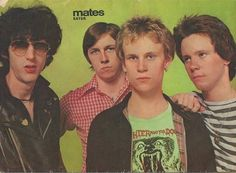 """EATER -Mates Magazine 1977. Phil Rowland is wearing SLAUGHTER & THE DOGS Tee under his Baracuta G-9 Jacket! He played drums for SLAUGHTER & THE DOGS, STUDIO SWEETHEARTS + SLAUGHTER as well as replacing Dee Generate in EATER on their classic LP + followup 45s. EATER was usually produced by DEVIANTS-PINK FAIRIES' Sound man DAVE GOODMAN & they signed to his label """"The Label"""". MARTIN HAYLES did """"What She Wants She Needs"""".. When EATER split IAN WOODCOCK joined THE VIBRATORS & ANDY BLADE went…"""