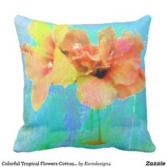 Colorful Tropical Flowers Cotton Throw Pillow
