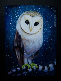 Barn Owl Original Acrylic painting on panel 2012 by Owl Quilts, Owl Pet, Owl Cartoon, Owl Pictures, Art Deco Posters, Beautiful Owl, Mexican Folk Art, Whimsical Art, Art Projects