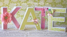 So pretty!  Ilda uses the 3D LETTERS SVG KIT to make a baby's name for a baby shower!  Mom will love it!