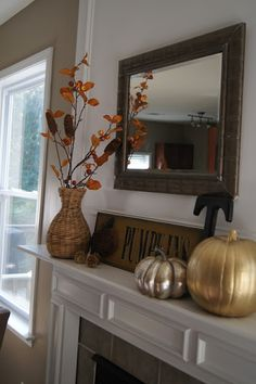 All the above: fall mantle--spray painted pumpkins & pinecones | Nest Your Best