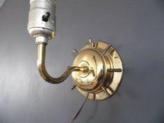 Nautical Brass Wall Light Nautical Ship's Wheel by MadGirlRetro