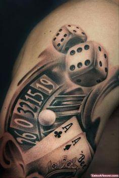 Grey Ink Dice And Gambling Tattoo Design