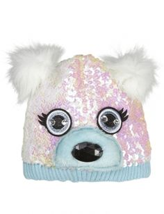 Sequin Polar Bear Beanie Hat Girls Winter Hats 388f17d94d1