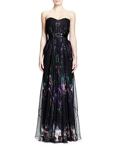Feather-Print Strapless Chiffon Gown & Wide Patent Leather Belt by Alexander McQueen at Neiman Marcus.