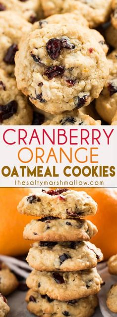 Cranberry Orange Oatmeal Cookies! Super soft and chewy oatmeal cookies that are thick and delicious. This oatmeal cookie recipe is perfect for fall and winter baking with cinnamon, orange, and cranberry. Super easy to make!