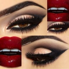 """Blown away by this Eye and Lip Combo by ❤@LVGlamDuo❤️ their killer looks blows us away everytime LASHES:: #FlutterLashes in """"LORI"""" (top) and """"BRITTANY"""" (bottom) #minklashes #flutterlashes #red"""