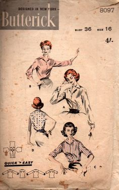 Butterick 8097 Womens EASY Classic Shirt 50s Vintage Sewing Pattern Size 16 Bust 36 inches
