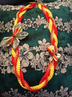 Three Singles Braid in Pahoa Elem Colors with Money Butterflies     #ribbonlei…
