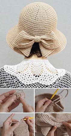 Crochet Adult Hat, Crochet Summer Hats, Bonnet Crochet, Crochet Bows, Crochet Beanie, Crochet Scarves, Crochet Clothes, Crochet Stitches, Knitted Hats