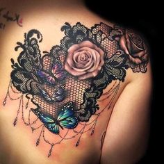 Lower Back Tattoos 68240 pink lace tattoo, butterflies and roses with black lace, woman back tattoo Girly Tattoos, Pretty Tattoos, Rose Tattoos, Body Art Tattoos, Tatoos, Lace Flower Tattoos, Lace Shoulder Tattoo, Shoulder Tattoos For Women, Back Tattoo Women