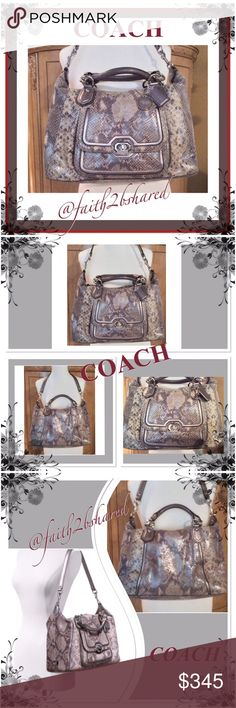 COACH purse (F26041) Exotic Python RARE ✨COACH (F26041) ✨Campbell Exotic Python leather with metallic leather trim ✨ ✨Inside zip, cell phone and multi-functional pockets✨ ✨Zip top closure, very nice fabric light purple lining✨ ✨Handles with 5 inch drop, shoulder strap included✨ ✨13 3/4' Length x 8 3/4' Height x 5 3/4' Wide✨. Excellent condition Coach Bags Shoulder Bags