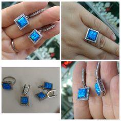 Купить Комплект из серебра с голубым опалом. Геометрия - голубой, опал купить, голубой опал