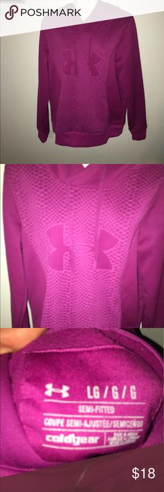 #UnderArmour #Coolgear ##SoWarm #Sweatshirt L EUC #UnderArmour #Coolgear ##SoWarm #Sweatshirt L EUC Awesome fuschia, fun purple that really pops against black yoga pants or workout wear in general. Little too small for me and I only got 2-3 wears out of it. Make it yours 💐 Under Armour Tops Sweatshirts & Hoodies