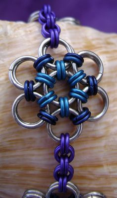 Blue, Dark Blue and Purple Aluminum JP 6-1 Necklace