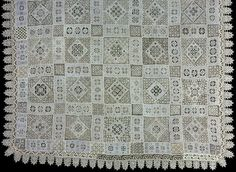Italy    Cover (Made-up), Early 17th century    Squares and rectangles of: linen, plain weave; cut and drawn work embroidered in back, hem, overcast, square open work stitches and needle lace fillings; and...