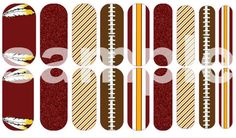 Washington DC #Redskins #NFL / Custom Jamberry Nail Wraps / football manicure or pedicure