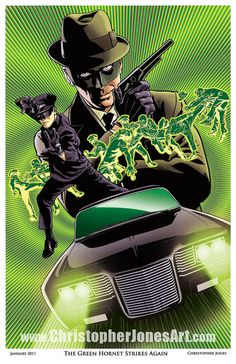 "$30 ""The Green Hornet Strikes Again!"" This print is based on the 1960s television series The Green Hornet and features the Green Hornet as played by Van Williams and Kato as played by the legendary Bruce Lee. The Green Hornet's sleek supercar The Black Beauty is also featured. #GreenHornet"