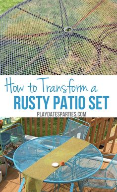 How to Paint Rusted Metal Furniture: Don't throw away that old rusty outdoor furniture! Find out how to paint rusted metal furniture to make it like new again! http://playdatesparties.com/2016/04/how-to-paint-rusted-metal-furniture.html