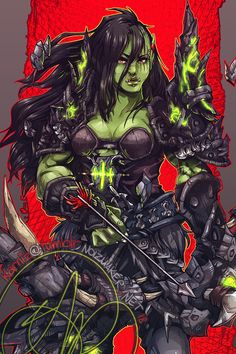 Orc Girl by wraithwalk Orc Warrior, Fantasy Female Warrior, Warrior Girl, Dnd Characters, Fantasy Characters, Female Characters, World Of Warcraft Game, Warcraft Art, Female Character Design