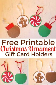 Need a last minute Christmas gift? Download and print these DIY ornament gift card ornaments for free!  DIY Christmas gifts, Christmas gifts, Christmas Ornaments, handmade Christmas gifts, Teacher gifts, neighbor gifts, Free printable Christmas gifts