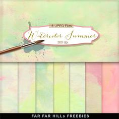 Watercolor Summer:Far Far Hill - Free database of digital illustrations and papers