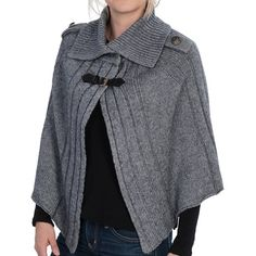 La Fiorentina Wool Capelet Sweater - Leather Strap (For Women))