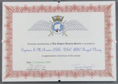 "Lot 505, From the estate of Captain Eric M Brown An Honorary Membership certificate of The Gosport Aviation Society 21st February 2006 to Captain Eric M Brown CBE DSC AFC 8 1/2"" x 12"" est £40-60"