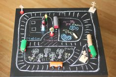 The Imagination Tree: Train Tracks on the Chalkboard Table. This is exactly what I will be doing with my chalkboard spray paint in the coming weeks! Train Activities, Toddler Activities, Indoor Activities, Preschool Ideas, Craft Ideas, Creative Activities, Creative Play, Chalkboard Table, Imagination Tree