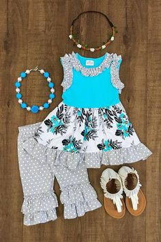 Turquoise and Gray Floral Ruffle Capri Set by Posey Productions