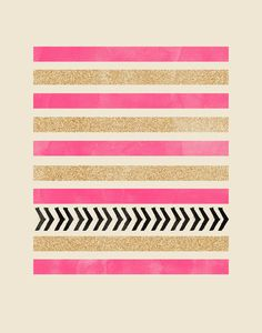 PINK AND GOLD STRIPES AND ARROWS Art Print by Allyson Johnson   Society6