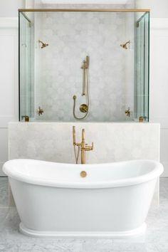 Black & White Modern Farmhouse Meets Classic Tudor Style in Arizona - Hello Lovely White Marble Bathrooms, White Master Bathroom, Classic Bathroom, Small Bathroom, Timeless Bathroom, Master Shower, Arizona, Diy Shower, Shower Ideas