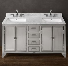 1930s Laboratory Stainless Steel Double Vanity Sink from Restoration Hardware