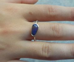 Solid Opal Silver Ring with Eyecatching Purple by AllAussieOpals