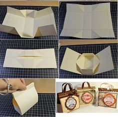 Mini Cardboard present Bag F bag Wonderful DIY Mini Cardboard Gift Bag Paper Gift Bags, Paper Gifts, Diy Paper, Diy Gift Box, Diy Box, Diy Gifts, Gift Boxes, How To Make Paper, Gift Packaging