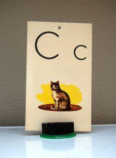 1 Vintage Letter -C- Flash Card Laminated CAT Alphabet 1963 Milton Bradley. $6.00, via Etsy.
