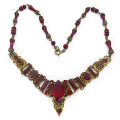 Vintage Czech Art Deco Red Glass Panel Ornate Gold Filigree Necklace   Clarice Jewellery   Vintage Costume Jewellery