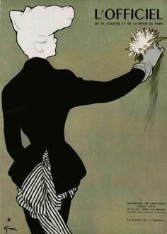 Illustration by René Gruau, 1948, L'officiel de la Mode, Paris.