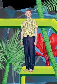 The Raphael Hauber Spring/Summer 2013 Catalog Stars Bastian Thiery Work Fashion, Fashion Looks, Mens Fashion, Fashion Design, Summer Editorial, Editorial Fashion, Tropical Fashion, Collections Catalog, Fashion Catalogue