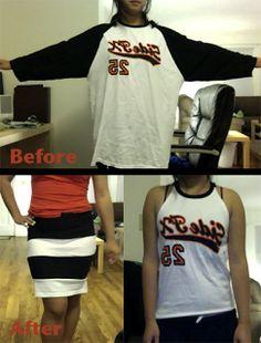 needle & thread magic: XL free shirt -> tank top and striped dress