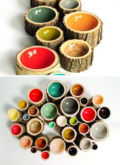 9 Ideas For Including Tree Stumps In Your Home Decor // These colorful bowls are made from reclaimed trees that have fallen on their own.