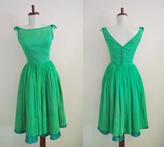 Vintage Grace Kelly Green Party Dress  S/XS by shoplucilles, $48.00
