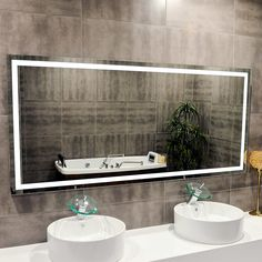 Illuminated LED x Bathroom Mirror by Suite Mirror Hangs Horizontally or VerticallyUL Kelvin Bathroom Mirror Lights, Led Mirror, Mirror With Lights, Bathroom Fixtures, Bathrooms, Illuminated Mirrors, Beautiful Mirrors, Electrical Wiring, Vanity Lighting