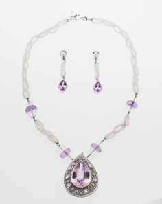 Catherine Best Flourish necklace and earrings in white gold with kunzites, pink sapphires and diamonds (necklace £9,180; earrings £3,360).