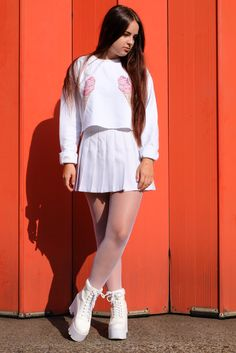 Discover this look wearing White Cropped Rad Sweatshirts, White Platform Public Desire Boots - I SCREAM FOR ICE CREAM by AmeliaBreading styled for Preppy, Everyday in the Fall All White Outfit, White Outfits, Cool Outfits, White Tights, Fishnet Tights, Sixth Form Outfits, Tennis Skirts, Look Fashion, Womens Fashion