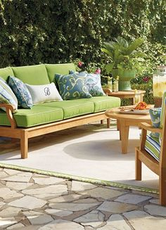 Bright outdoor furniture creates the perfect destination for the end of the day.