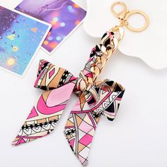 Find More Key Chains Information about 6 Colors Silk Scarves Bow Keychain Sleute. Cute Keychain, Tassel Keychain, Accessories Display, Handbag Accessories, Diy Crafts Love, Accesorios Casual, Polymer Clay Charms, Deco Table, Sewing Crafts