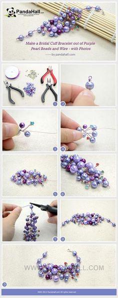 Make a Bridal Cuff Bracelet out of Purple ... | Jewelry Making Tutori…