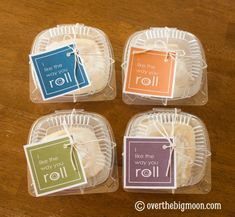 I like the way you roll - Local grocer gave her 5 clam-shell containers for free. Then she put a cinnamon roll inside, wrapped it with some twine, and tied her (free printable) tag on. This tag can be used for so many other occasions too – Valentines, birthday, thank you….